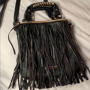 Steve Madden black fringe bag with snap closure